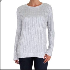 Brooks brother lambswool cable knit sweater grey M